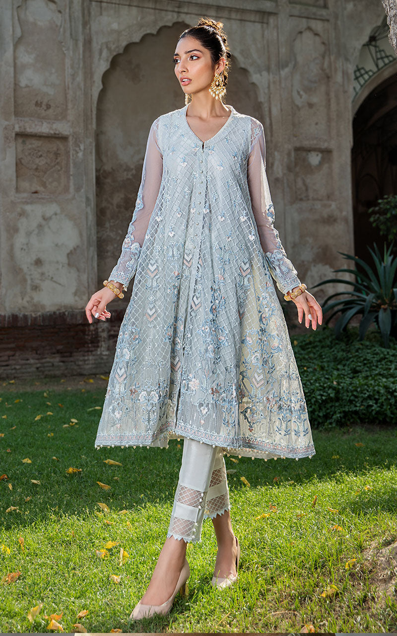 Thred and Motifs Net Embroidered Shirt 6749 Noor-E-Seher