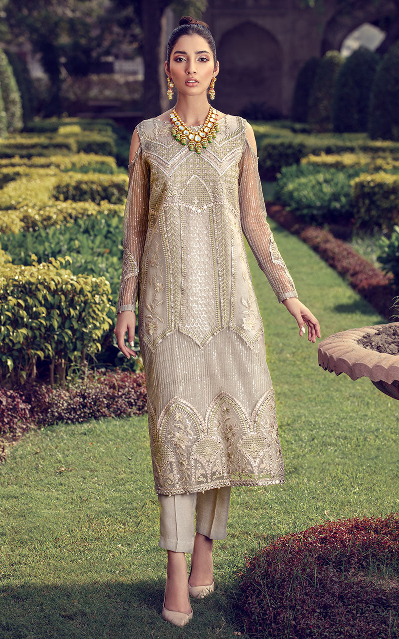 Thred and Motifs Organza Embroidered Shirt 6835 Noor-E-Seher