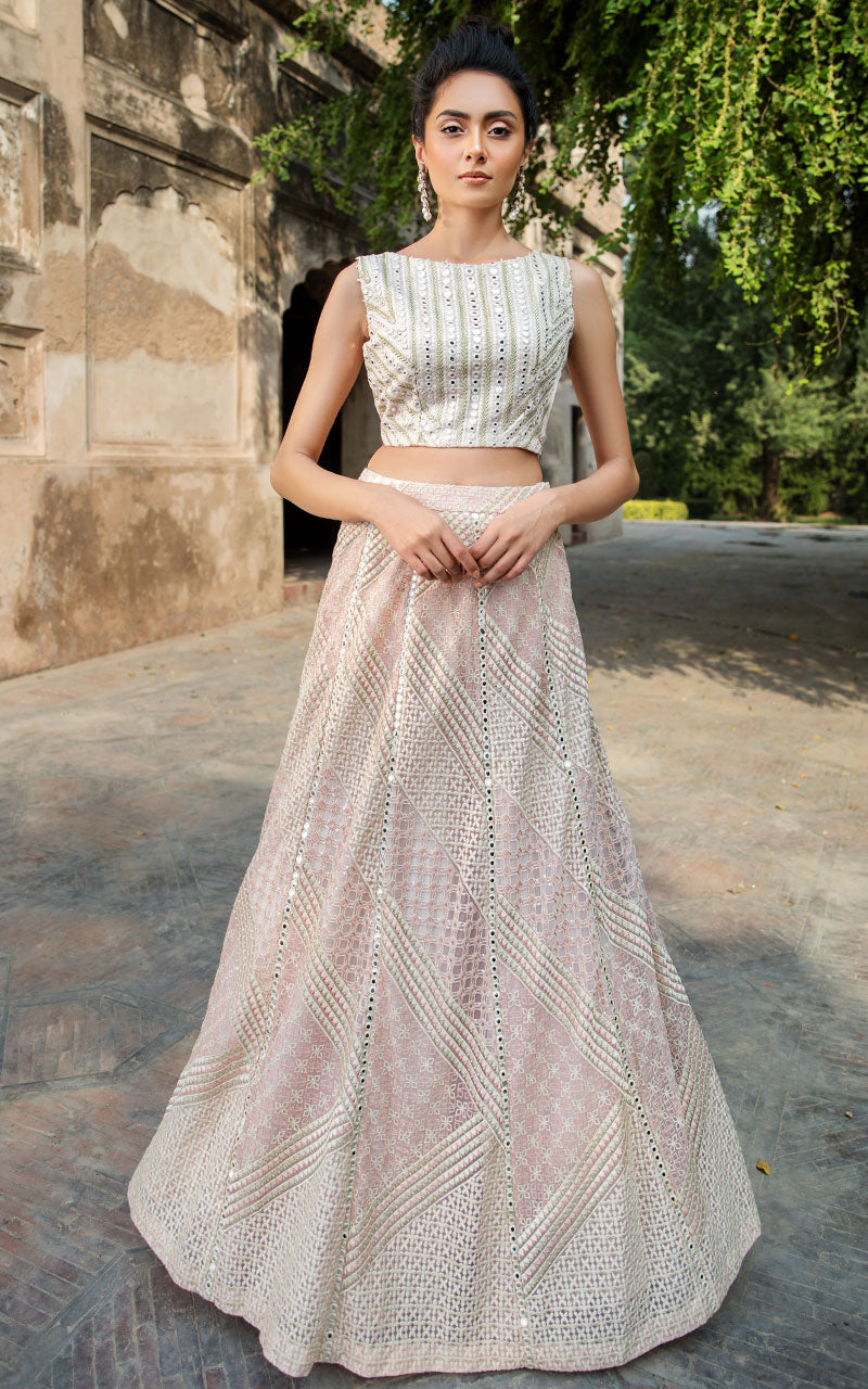 Unstitched Organza Embroidered Blouse And Net Embroidered Lehenga