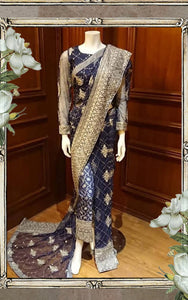 Net Embroidered Pant Saree