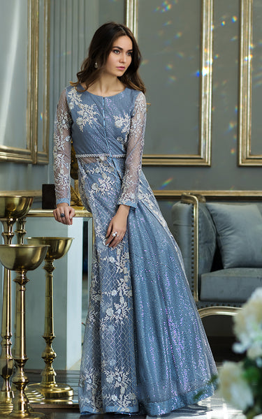 Net Embroidered Gown With Skirt