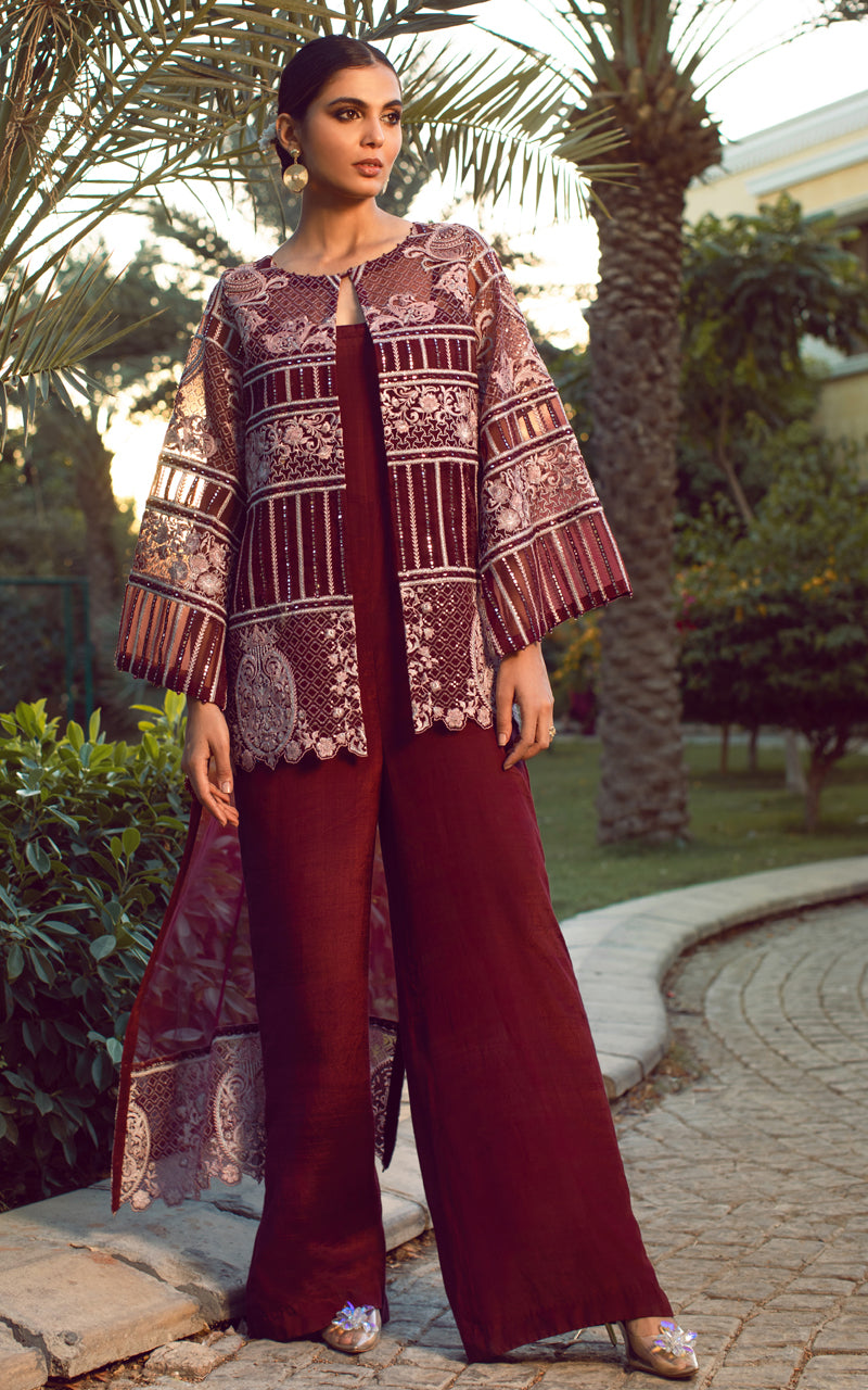 Unstitched Organza Embroidered Jacket With Jumpsuit