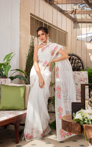 Unstitched Embroidered Saree