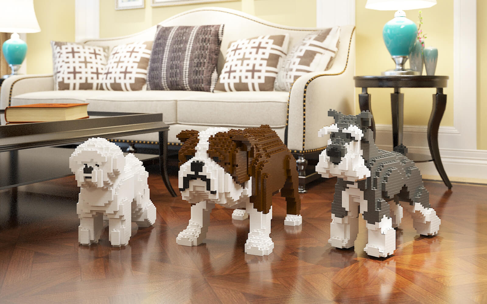 dogs building sets sculptures