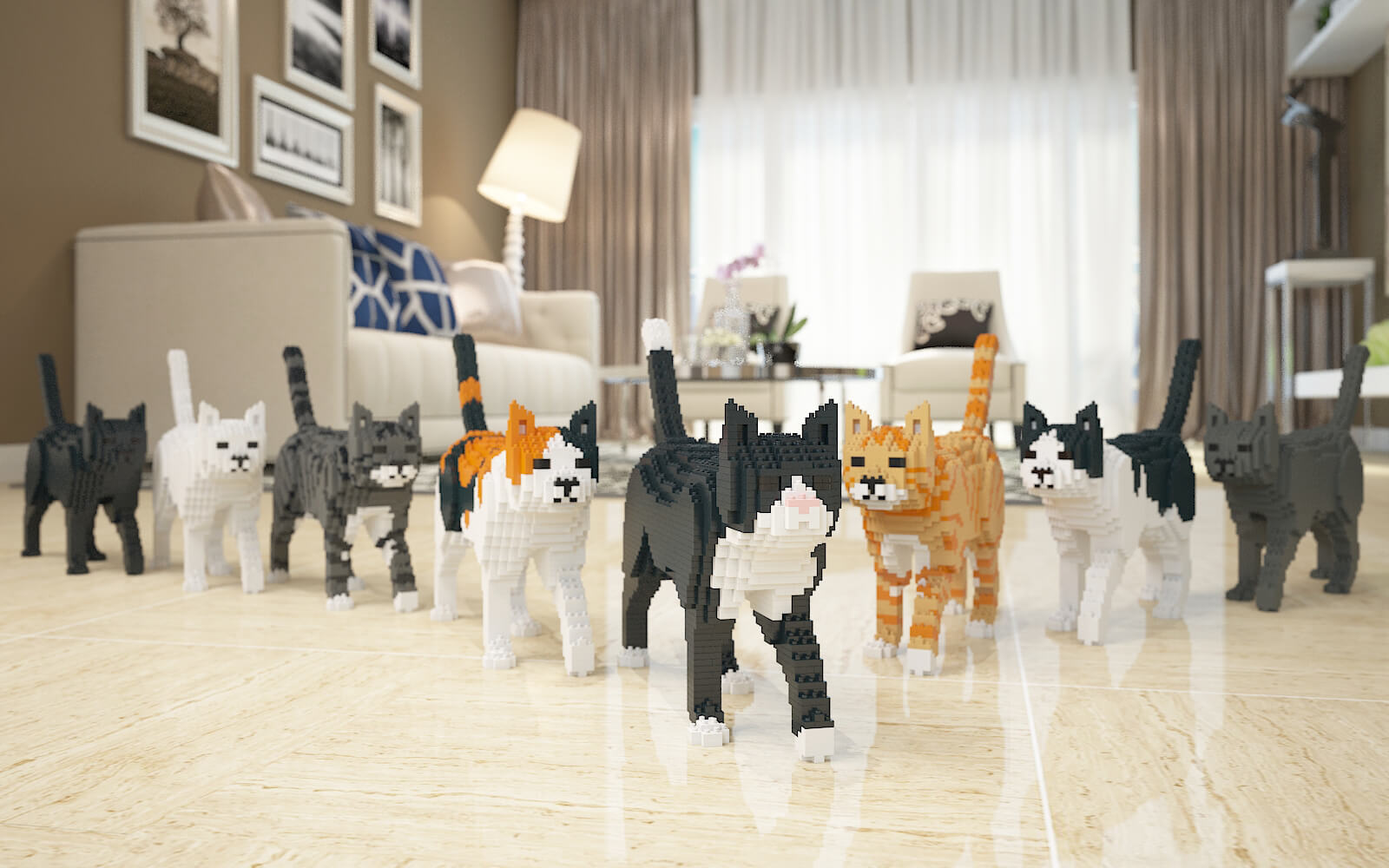 cats building sets sculptures