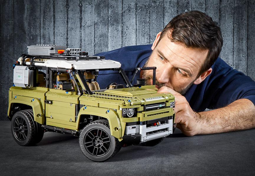 An exact copy of the new Land Rover Defender made of LEGO®