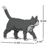 Grey Tuxedo Cats Sculptures - LAminifigs