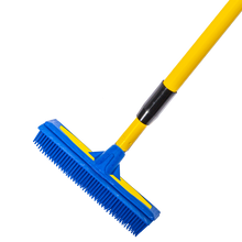 "Load image into Gallery viewer, Smart Broom® 12"" Upright Multi-Purpose Squeegee Broom Blue/Yellow w/Telescoping Handle"