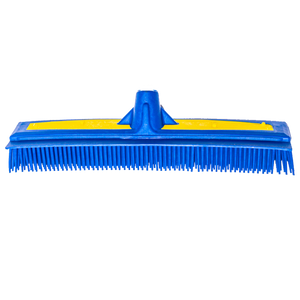 "Smart Broom® 12"" Upright Multi-Purpose Squeegee Broom Blue/Yellow w/Telescoping Handle"