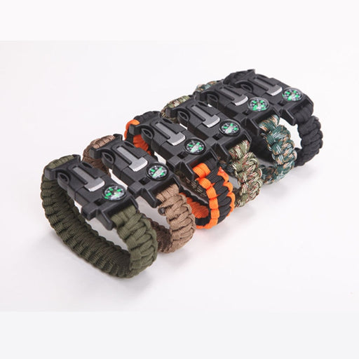 Survival Paracord Bracelet  Multi Functional - Whistle, Compass Without Flint