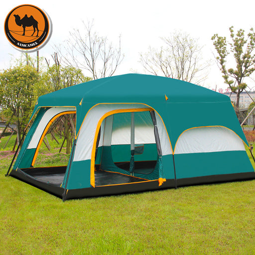 Ultra-large double layer outdoor, 2 living rooms and 1 hall family camping tent