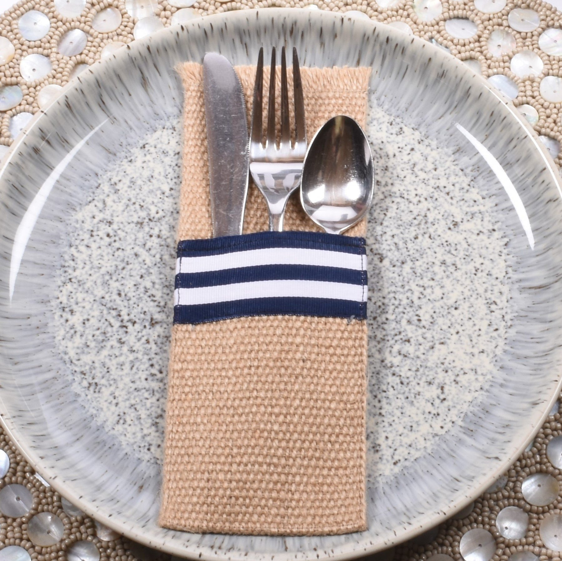 Natural Burlap Silverware Cutlery Holder 3.25 inches X 8.5 inches-Pack of 8
