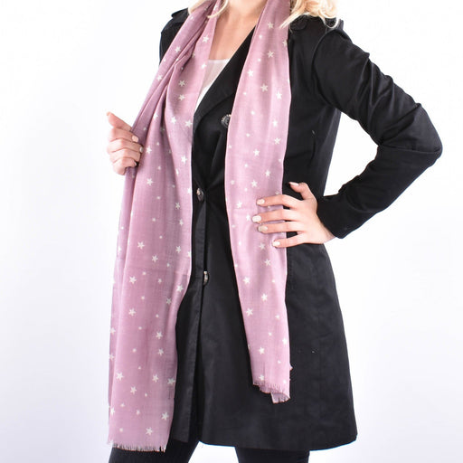 Stardust Roze - Elegant Wool and Silk Woven Scarf