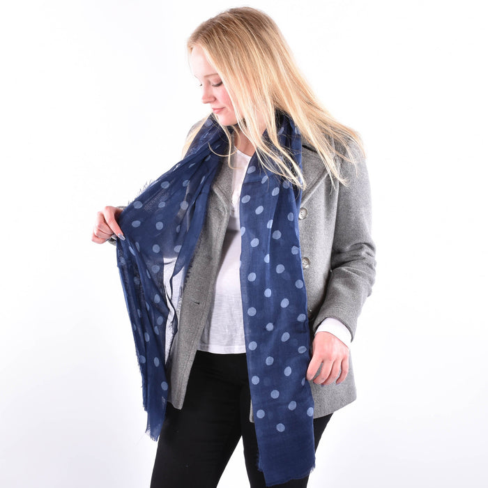 Dots of Blue - Luxurious Modal and Cashmere Woven Scarf