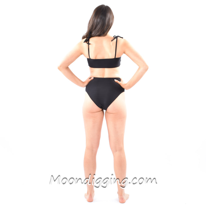 High-Waisted Black Ribbed Bikini Set