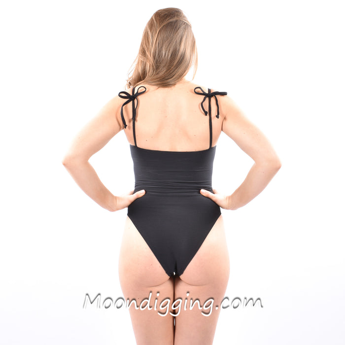 Black Bow Ribbed Bathing Suit