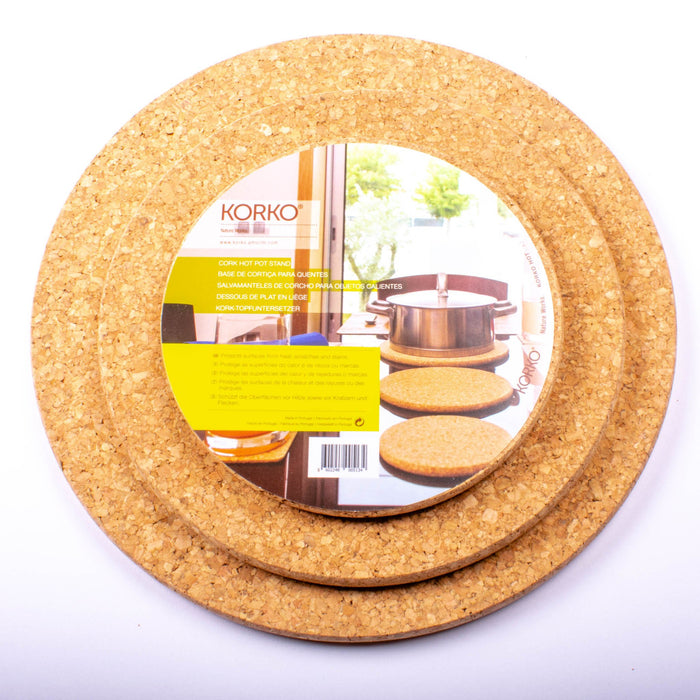 "Cork Round Trivets, Set of Three-6"", 8"", 9.8"""