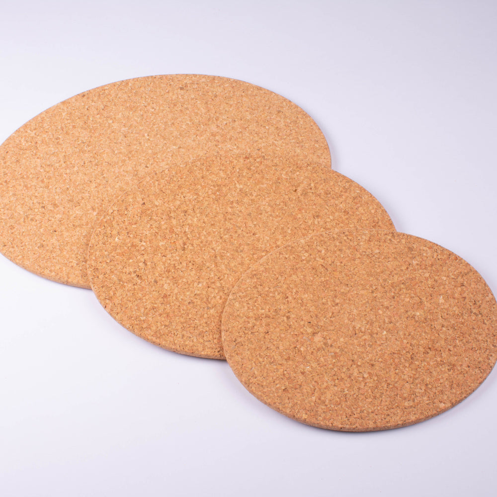 "Cork Trivets Oval, Set of 3, 6"", 8"", 9.8"""
