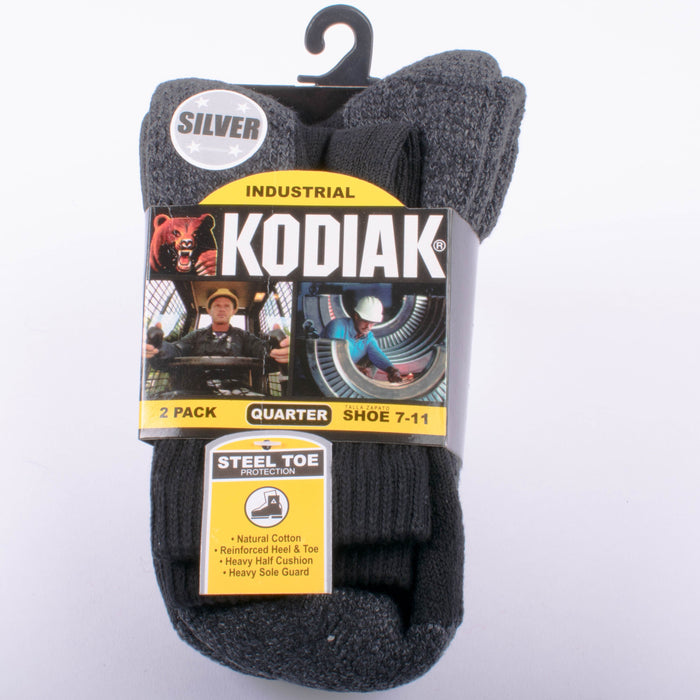 Kodiak Men's Black Industrial Soft Quarter Socks - 2 Pairs