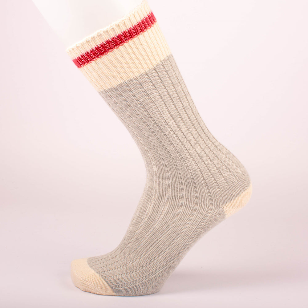 Kodiak Men's Grey and Red Soft Crew Socks - 2 Pairs