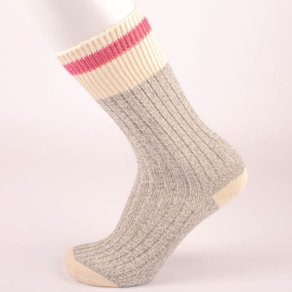 Kodiak Ladies Grey and Natural Pink Crew Socks - 2 Pairs