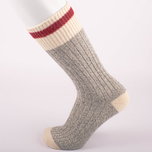 Kodiak Ladies Grey and Natural Red Crew Socks - 2 Pairs