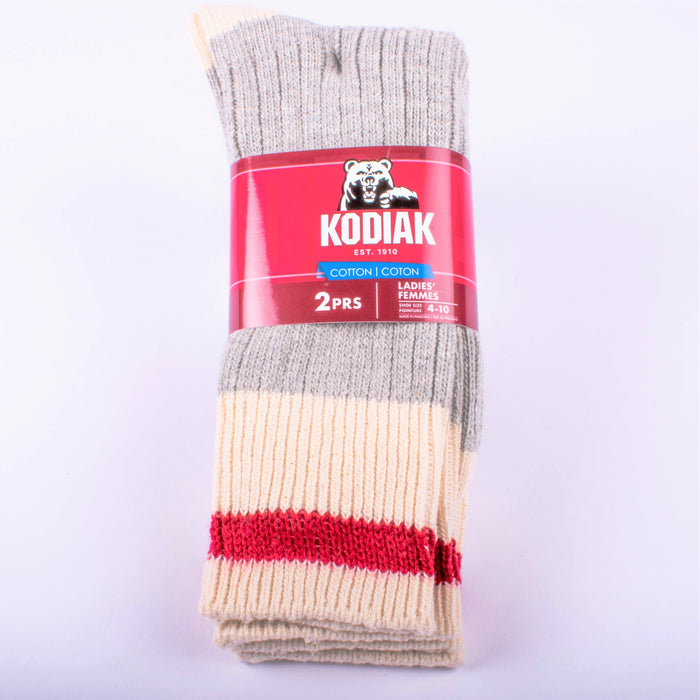 Kodiak Ladies Grey and Red Crew Socks - 2 Pairs