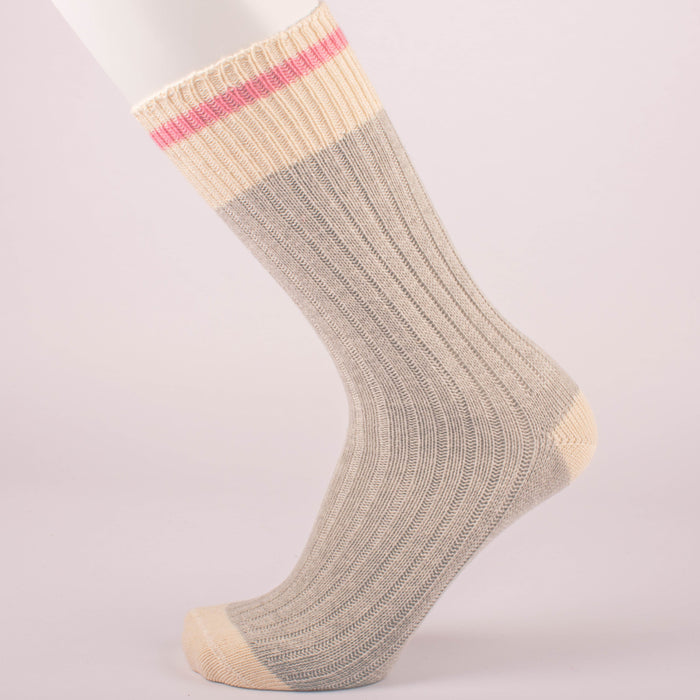 Kodiak Ladies Grey and Fuchsia Crew Socks - 2 Pairs