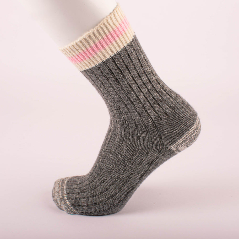 Kodiak Ladies Grey and Pink Comfort Socks - 2 Pairs