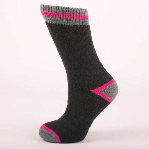 Kodiak Girls Black and Fuchsia Thermal Socks (Medium) - 2 Pairs