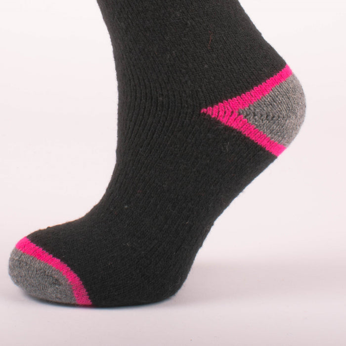Kodiak Girls Black and Fuchsia Thermal Socks (Large) - 2 Pairs