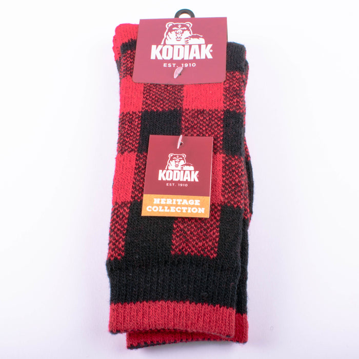 Kodiak Boys Black and Red Thermal Socks (Large) - 2 Pairs