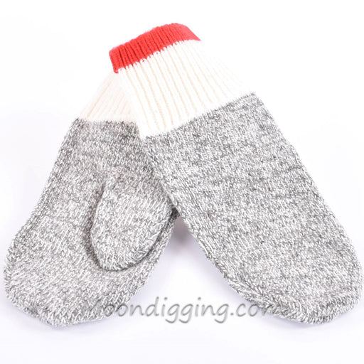 Duray Natural Grey and Red Classic Wool Mitten