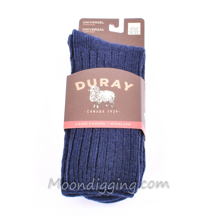 Duray Unisex Universal Comfort Navy Blue Lambswool Socks