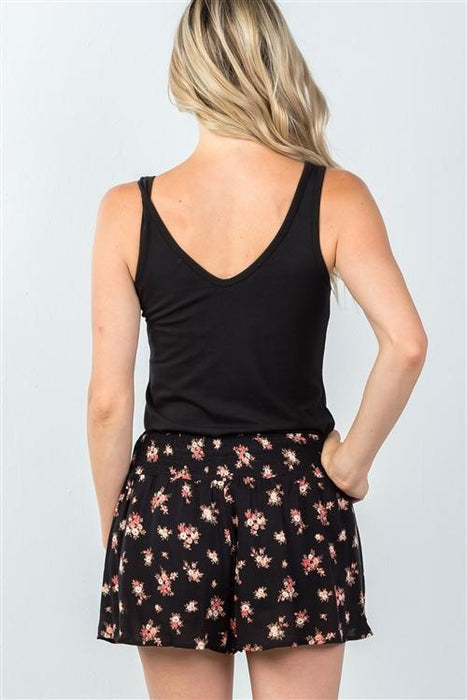 MDG Essential - Floral Print Tie-Front Shorts