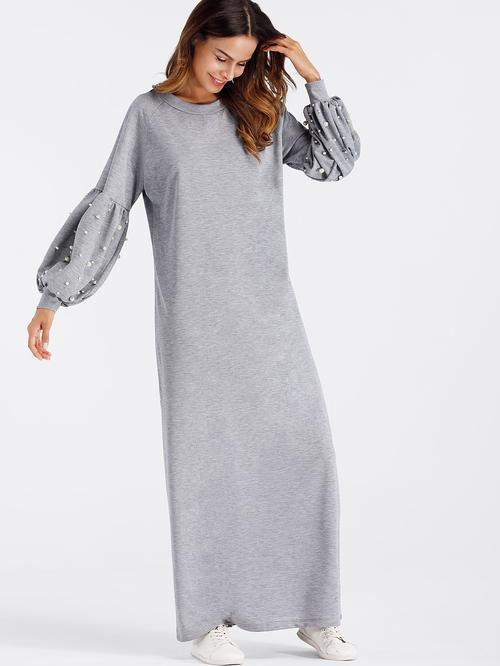 MDG Essential - Pearl-Beaded Sweatshirt Dress