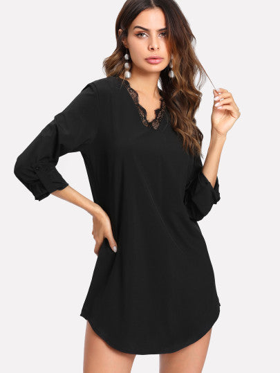 MDG Essential - Long Lace-Trimmed Tunic