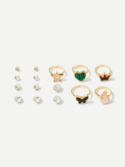 MDG Essential - Golden Damsel 10PC Ring and Earring Set