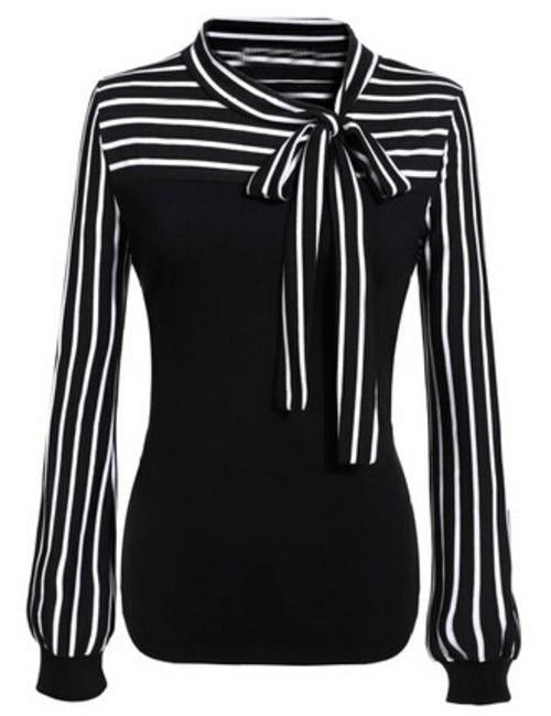 MDG Essential - Striped Accent Blouse