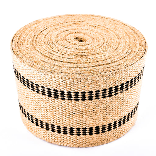 "Upholstery/Craft Jute Webbing (Burlap), 3.5"" X 72 Yards - Natural w/Black Stripes"