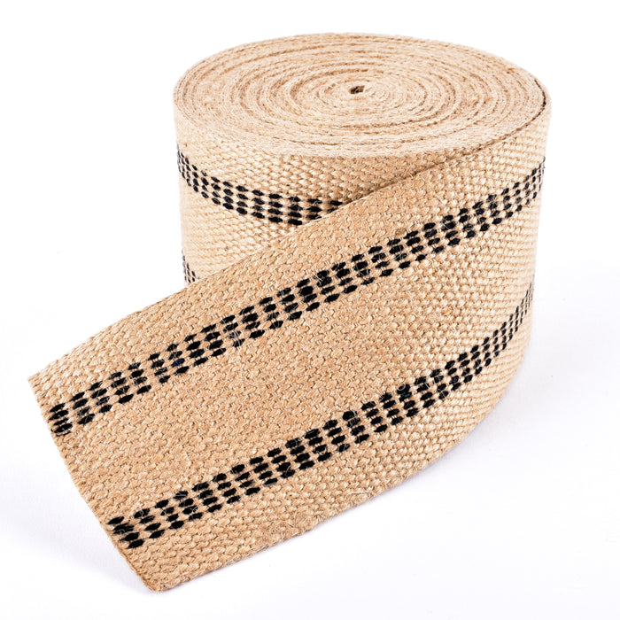 "Upholstery/Craft Jute Webbing(Burlap) 3.5"" X 36 Yd-Natural w/Black Stripes"