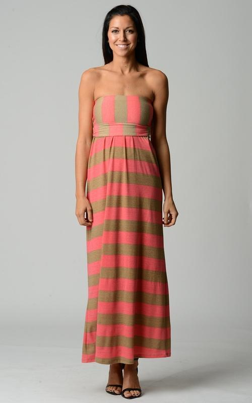 MDG Essential - Strapless Striped Maxi