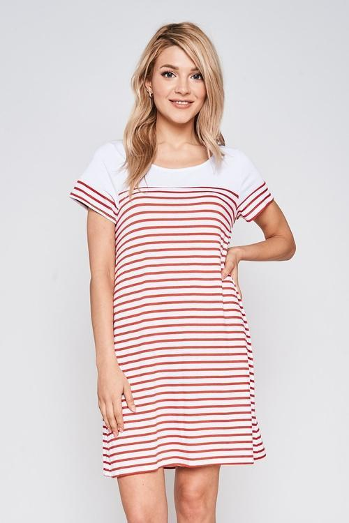 MDG Essential - Red & White Stripe Short-Sleeve Dress