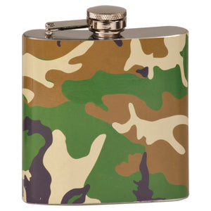 6 oz. Camouflage Laserable Stainless Steel Flask
