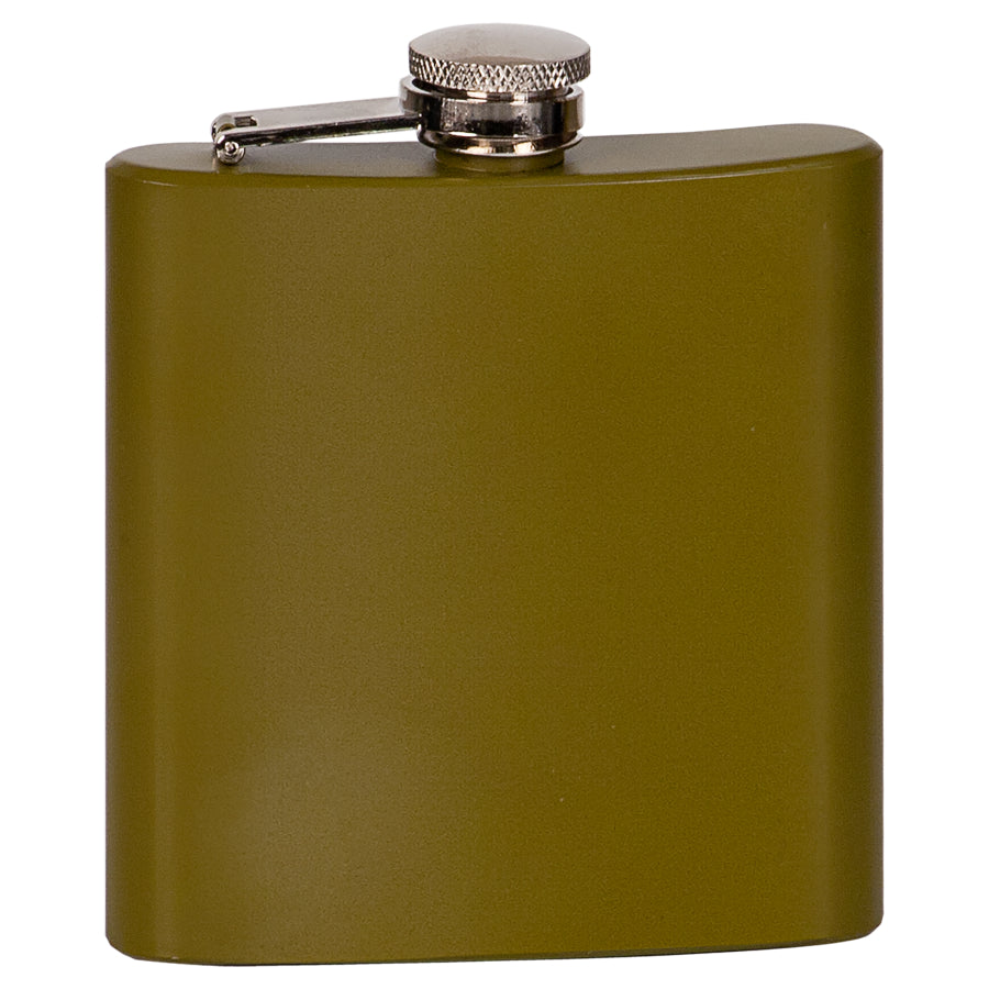6 oz. Matte Green Laserable Stainless Steel Flask