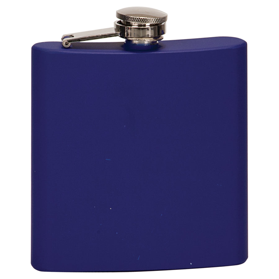6 oz. Matte Blue Laserable Stainless Steel Flask
