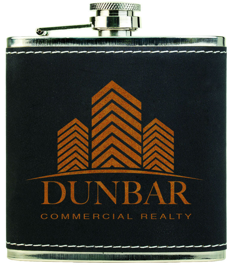 6 oz. Light Black-Gold Textured Stainless Steel Flask