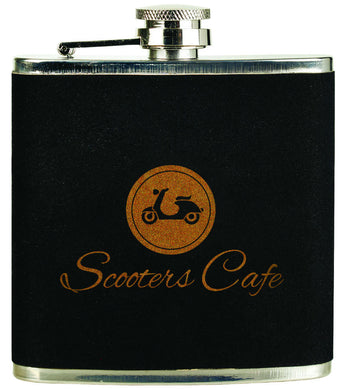 6 oz. Black Velvet-Gold Stainless Steel Flask