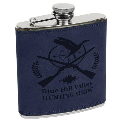 6 oz. Blue Laserable Leatherette Stainless Steel Flask