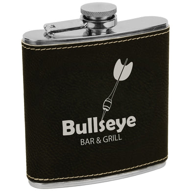 6 oz. Black-Silver Laserable Leatherette Stainless Steel Flask